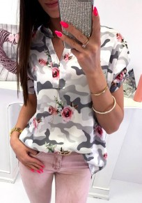 White Camouflage Floral Print V-neck Casual Going out Blouse
