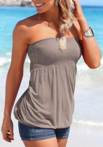Grey Bandeau Backless Sleeveless Fashion Blouse