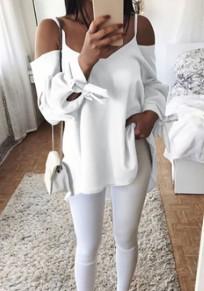 Weiße Condole Gürtel Knoten Langarm V-Ausschnitt Bluse Bluse