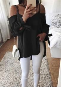Blusa nudo de cinturón condole manga larga blusa v-cuello negro