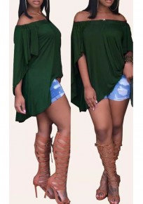 Green Draped Off Shoulder High-low Backless Flare Sleeve Casual Blouse