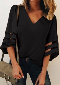 Black Patchwork Grenadine Ruffle Irregular V-neck Fashion Blouse