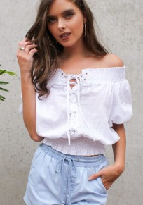 White Drawstring Ruffle Boat Neck Fashion Blouse