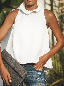 White Tie Back Band Collar Sleeveless Fashion Blouse