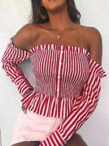 Red Striped Single Breasted Ruffle Boat Neck Fashion Blouse