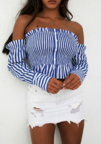 Blue Striped Single Breasted Ruffle Boat Neck Fashion Blouse