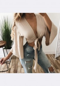 Khaki Irregular Lace-up 3/4 Sleeve Deep V-neck Fashion Blouse