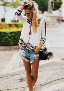 Blouse imprimé à fleurie v-cou manches longues 3/4 vintage hippie femme tunique blanc
