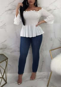 White Mosaic Pearl Peplum Off Shoulder Backless Flare Sleeve Party Blouse
