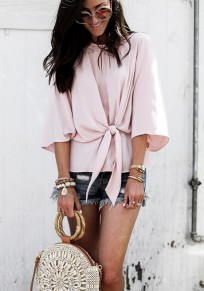 Pink Cut Out Ruffle Sashes Round Neck Fashion Blouse