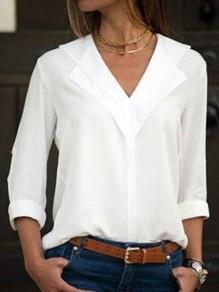 Chemisier en mousseline v-cou manches longues mode femme blouse blanc