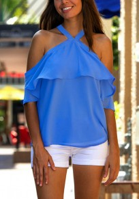 Blue Plain Draped Bow Short Sleeve Fashion Blouse