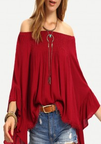 Red Ruffle Tassel Off Shoulder Bell Sleeve Bohemian Blouse