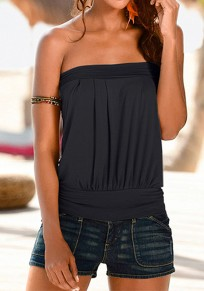 Black Bandeau Off Shoulder Backless Casual Vest