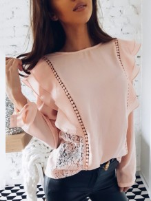 Pink Patchwork Lace Cut out Ruffle Sweet Going out Blouse