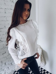 White Patchwork Lace Cut out Ruffle Sweet Going out Blouse