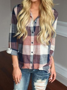 Orange Plaid Single Breasted Pockets Casual Blouse