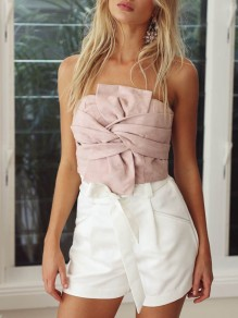 Pink Flowers Zipper Boat Neck Backless Bandeau Blouse