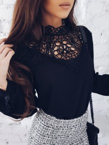 Black Patchwork Cut Out Lace Band Collar Long Sleeve Sweet Blouse