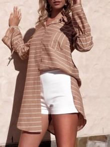 Khaki Striped Buttons Pockets Single Breasted Irregular Casual Blouse