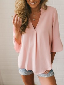 Pink Draped V-neck Three Quarter Length Sleeve Casual Blouse
