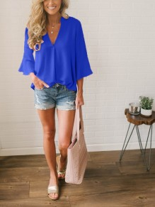 Blue Draped V-neck Three Quarter Length Sleeve Casual Blouse