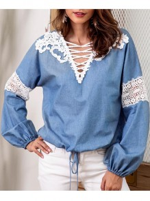 Blue Patchwork Lace Sashes Denim Lace-up Deep V-neck Long Sleeve Sweet Blouse
