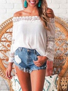 White Patchwork Lace Off Shoulder Backless Oversized Cute Blouse