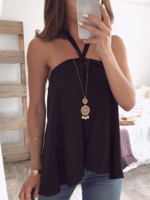 Black Bandeau Draped Backless Halter Neck Sleeveless Blouse