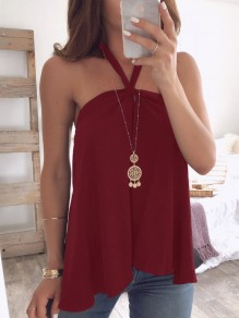 Wine Red Bandeau Draped Backless Halter Neck Sleeveless Blouse