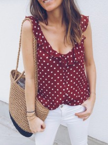 Red Polka Dot Peplum Single Breasted V-neck Fashion Blouse