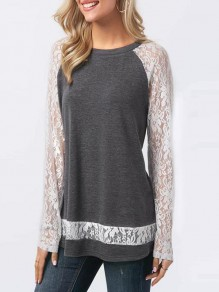 Grey Patchwork Bow Lace Round Neck Long Sleeve Casual Blouse