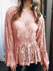 Pink Lace Patchwork Round Neck Long Sleeve Fashion Blouse