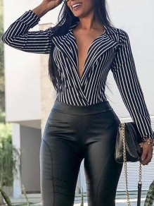 Black Striped Slim V-neck Long Sleeve Fashion Blouse