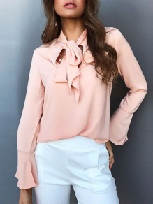 Pink Bow Ruffle Ribbons Long Sleeve Fashion Blouse