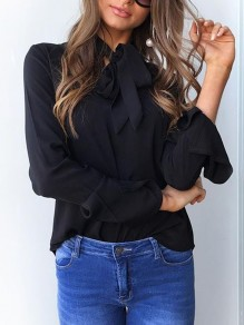 Black Bow Ruffle Ribbons Long Sleeve Fashion Blouse