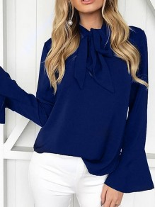 Navy Blue Bow Ruffle Ribbons Long Sleeve Fashion Blouse
