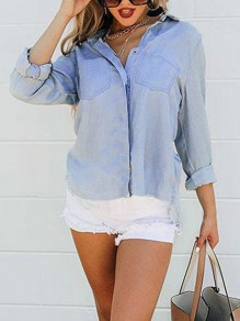 Blue Single Breasted Slit V-neck Long Sleeve Casual Blouse
