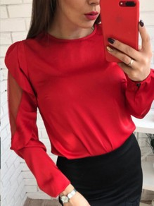 Red Patchwork Grenadine Ruffle Round Neck Long Sleeve Blouse
