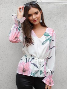 White Floral Ruffle Bow V-neck Long Sleeve Casual Blouse