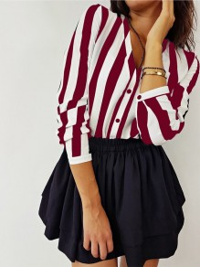 Red White Striped Buttons V-neck Long Sleeve Casual Blouse