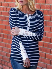 Blue Striped Lace Buttons Long Sleeve Casual Blouse