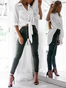 White Single Breasted Double Slit Pockets Casual Blouse