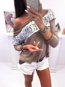 Khaki Lace Patchwork Long Sleeve Fashion Blouse