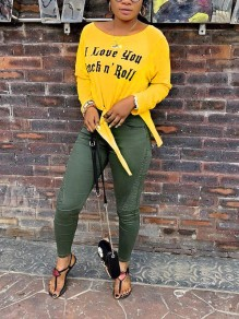 """Yellow """"I LOVE YOU ROCK'N ROLL"""" Print Knot High-Low Long Sleeve Casual T-Shirt"""