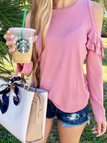 Pink Patchwork Ruffle Round Neck Long Sleeve Casual Blouse