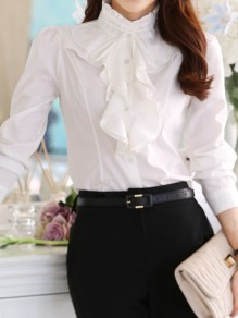 White Ruffle Band Collar Long Sleeve Elegant Ladies Blouse
