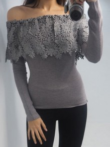 Grey Off Shoulder Lace Ruffle Long Sleeve Bodycon Elegant Casual T-Shirt