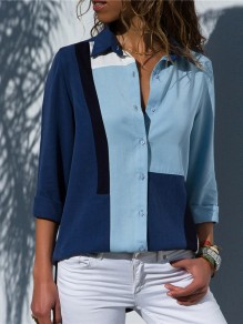 Blue Color Block Buttons Long Sleeve Office Worker/Daily Blouse