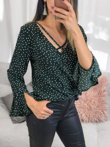 Green Polka Dot Ruffle Long Sleeve Sweet Going out Blouse